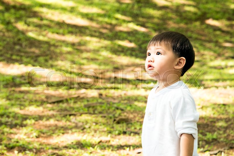 Stock image of 'Beautiful baby boy one-year-old crawling, smiles and laughs in fallen leaves. Toddler have fun outdoor in green park rainy season'