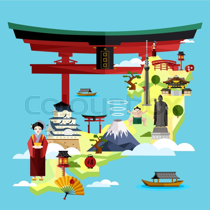 japan famous landmarks and travel map with asian girl in traditional dress on blue background vector illustration time to travel concept