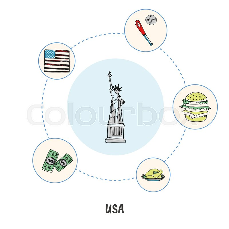 Attractive Usa Statue Of Liberty Colored Doodle Surrounded Turkey