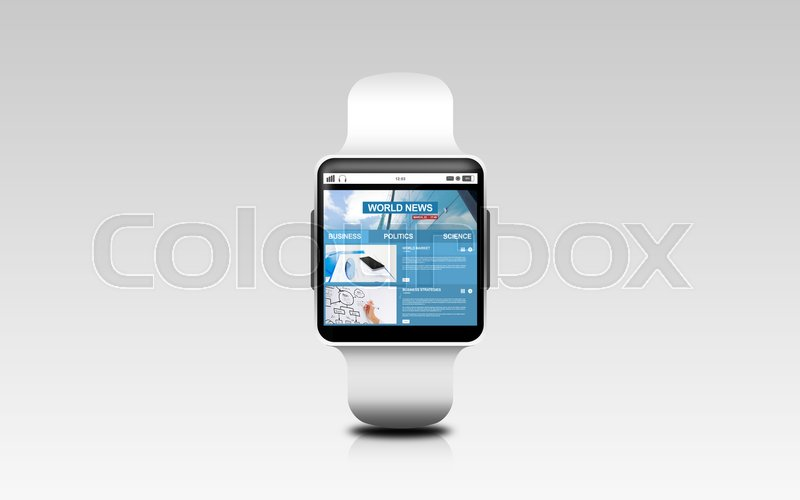 Stock image of 'modern technology, mass media and object concept - close up of black smart watch with business news on screen over gray background'