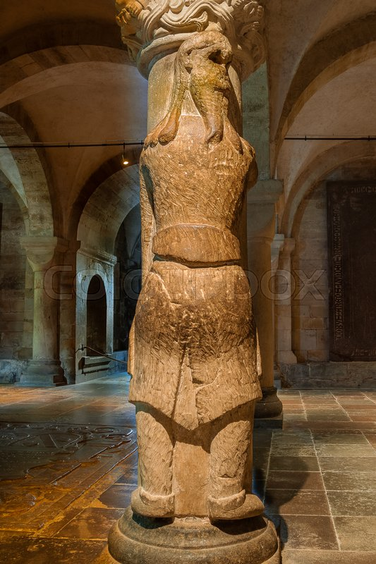 Editorial image of 'Gigant Finn at a pillar in Lund cathedral'