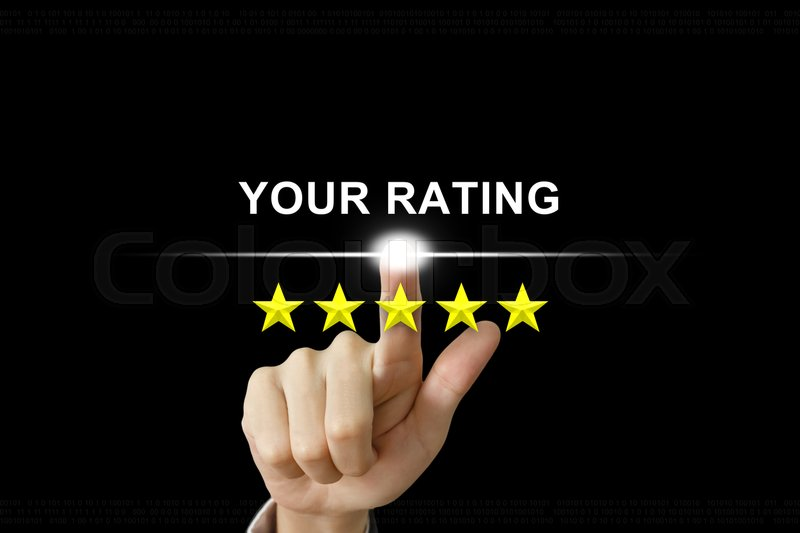 Stock image of 'business hand clicking your rating with five stars on screen'