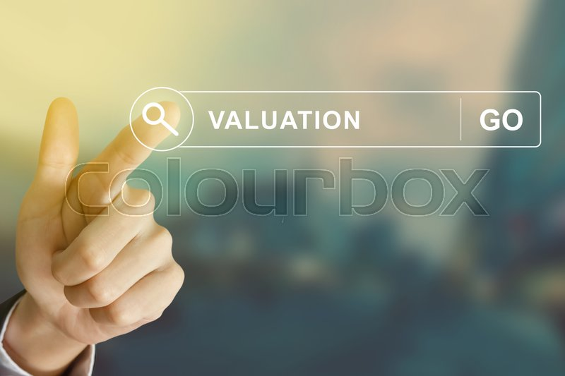 Stock image of 'business hand clicking valuation button on search toolbar with vintage style effect'