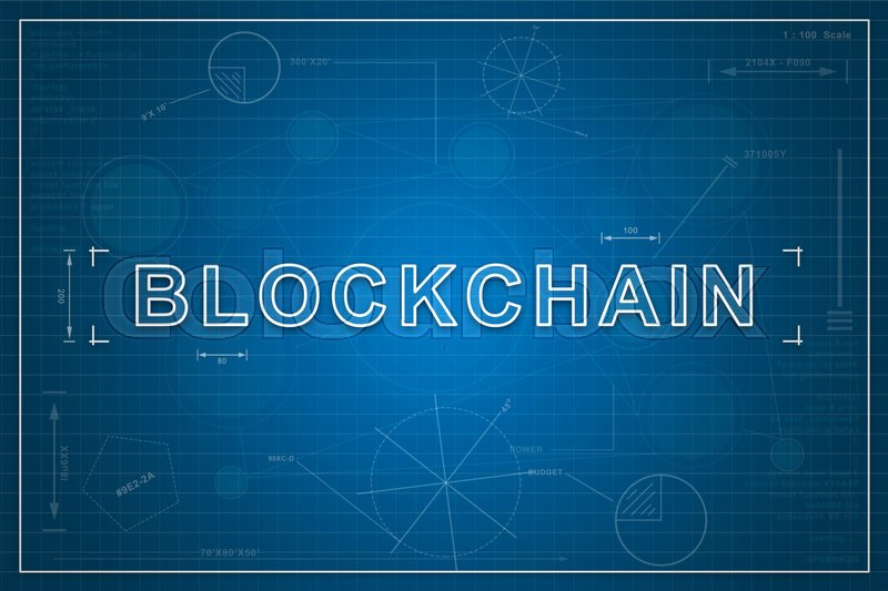 Stock image of 'blockchain on paper blueprint background, business concept'