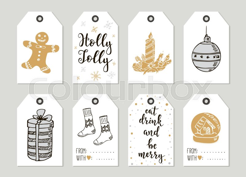 merry christmas and happy new year vintage gift tags and cards with calligraphy handwritten lettering hand drawn design elements