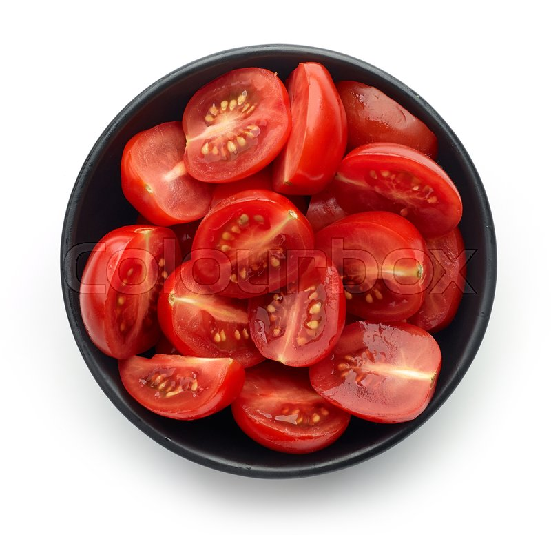 Stock image of 'Black bowl of fresh cherry tomato lobes isolated on white background, top view'