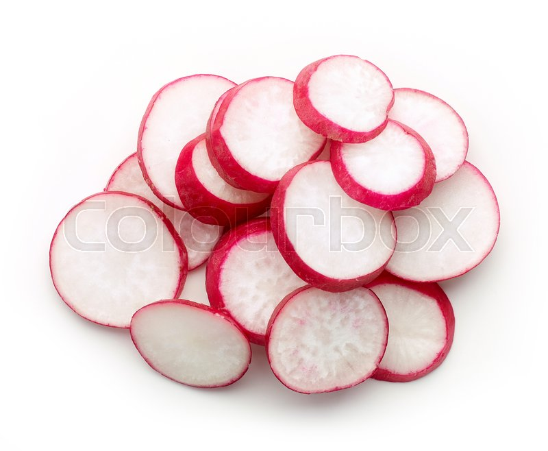Stock image of 'Heap of radish slices isolated on white background, top view'