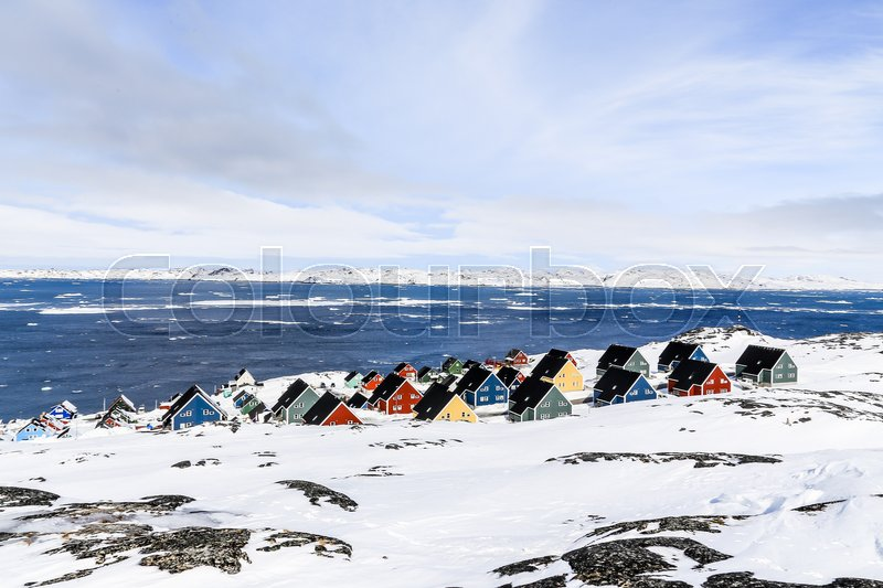 Stock image of 'Colorful inuit houses in a suburb of arctic capital Nuuk'
