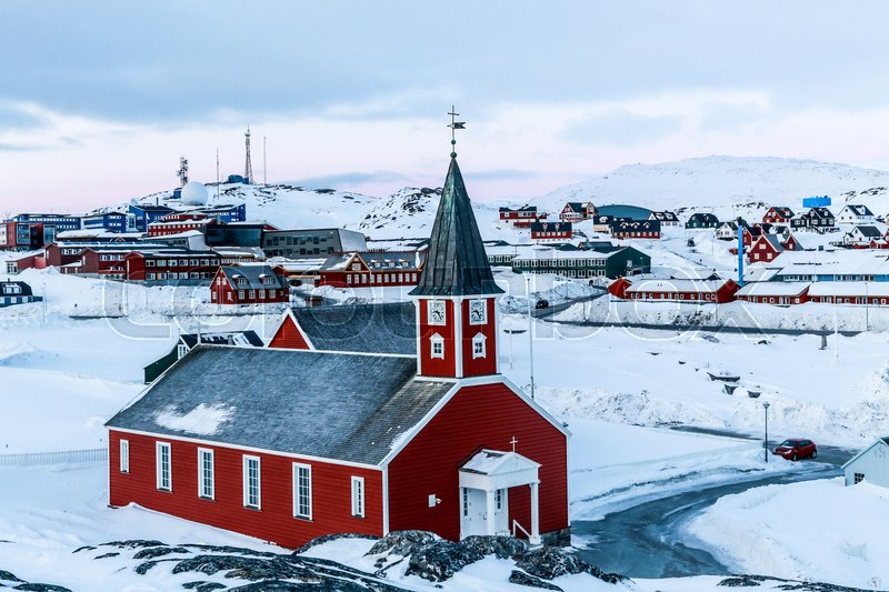 Stock image of 'Annaassisitta Oqaluffia, church of our Saviour in Historical center of Nuuk, Greenland'
