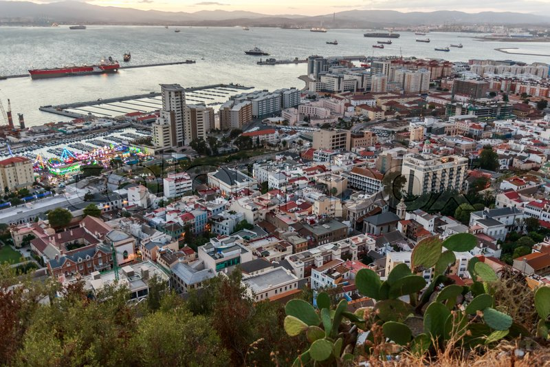 Stock image of 'offshore capital Gibraltar, evening view from Rock of Gibraltar'