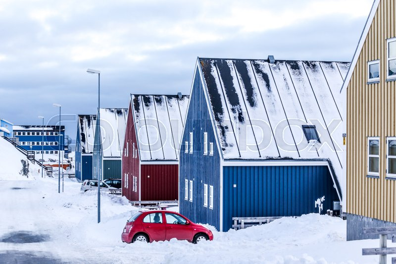 Stock image of 'Winter street in  Arctic capital Nuuk city, Greenland'