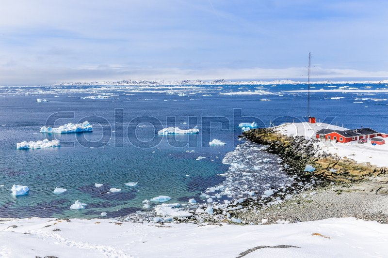 Stock image of 'View from the old harbor to the Nuuk fjord, Greenland'