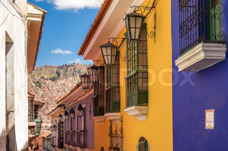 Stock image of 'Jaen street lights at LaPaz, Bolivia, South America, May 2016'