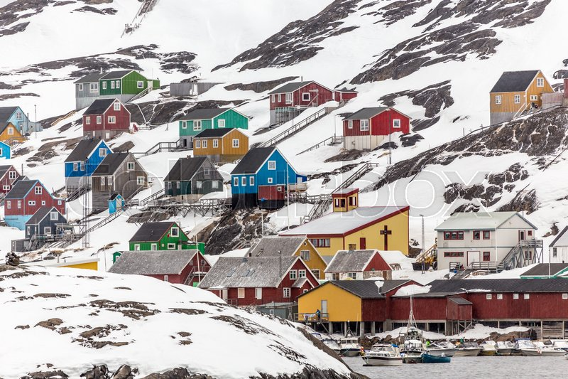 Stock image of 'Kangamiut arctic village in the middle of nowhere, Greenland May 2015'