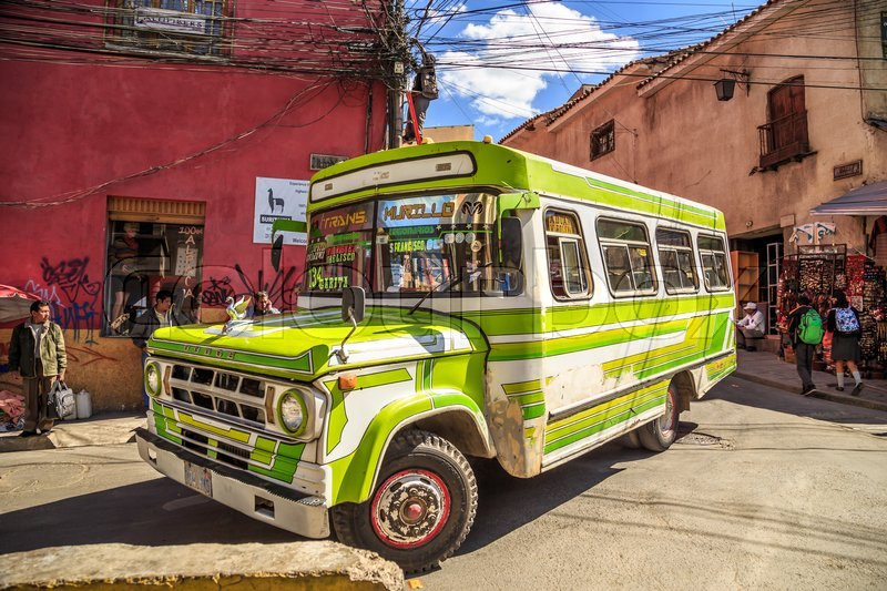 Editorial image of 'Colorful buses on the streets of Bolivian capital La Paz, South America, May 2016'
