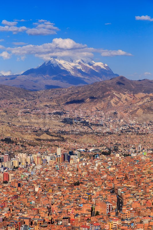 Stock image of 'La Paz colorful panorama with a mountain ina background, Bolivian capital, South America, May 2016'