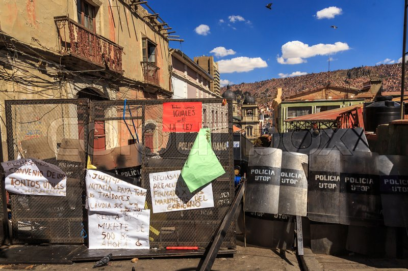 Stock image of 'Police barricads in the center of La Paz, Bolivia, South America, May 2016'