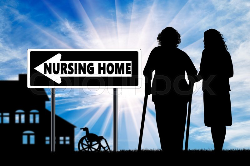 Stock image of 'Silhouette of a nurse caring for an elderly woman on crutches near house for elderly'