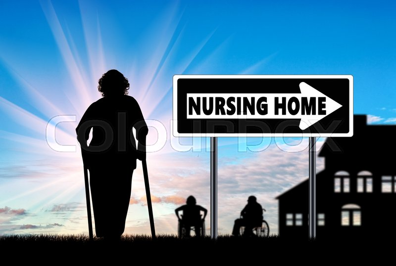 Stock image of 'Silhouette of an old woman on crutches near house elderly and disabled'