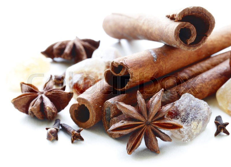 Stock image of 'Cinnamon and anise traditional Christmas spices'