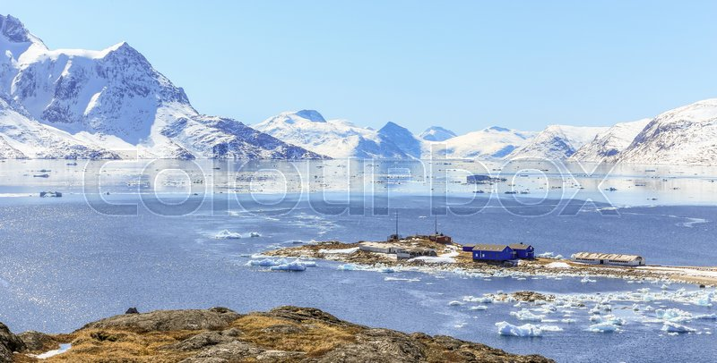 Stock image of 'Qoornoq former fishermen village, nowdays summer residence in the middle of Nuuk fjord, Greenland'