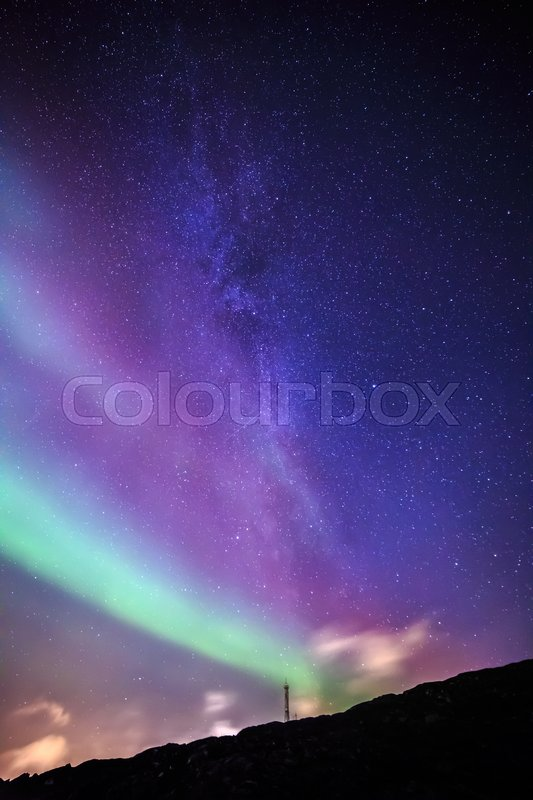 Stock image of 'Northern lights over Nuuk city, October 2015, Greenland'