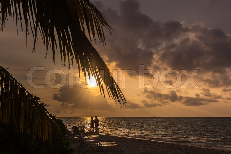 Stock image of 'Sunset at the Maldives Islands'