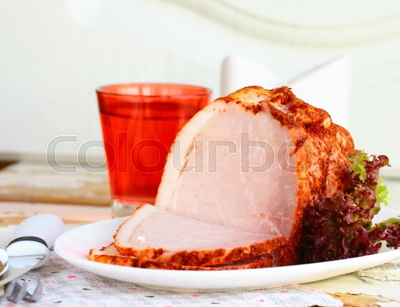 Stock image of 'Piece of roasted meat with paprika and herbs'