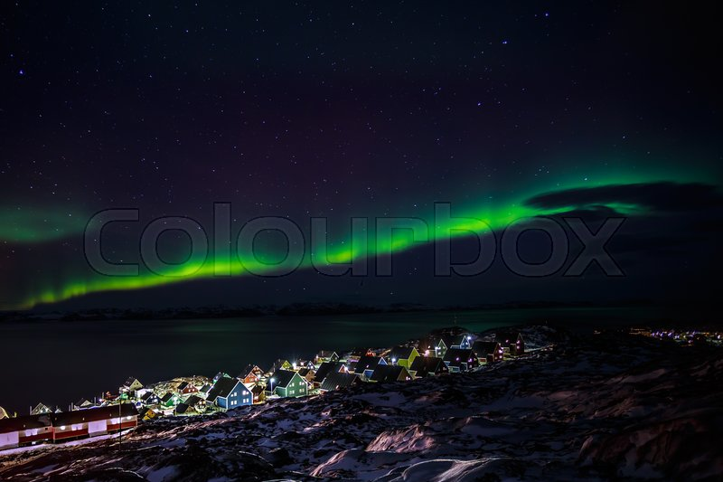 Stock image of 'Greenlanic Northern lights, nearby Nuuk, Greenland'