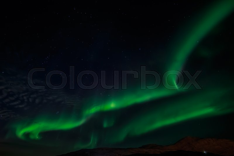 Stock image of 'Greenlandic northern lights, over Nuuk univercity, October 2015'
