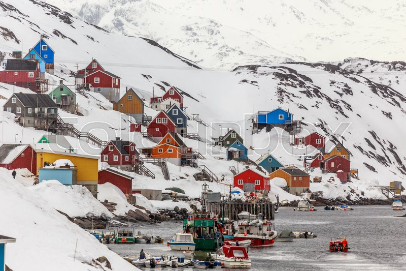Stock image of 'Kangamiut village in the middle of nowhere, Greenland May 2015'