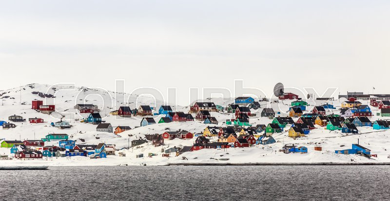 Stock image of 'Colorful Aasiaat city in North Greenland, May 2015'