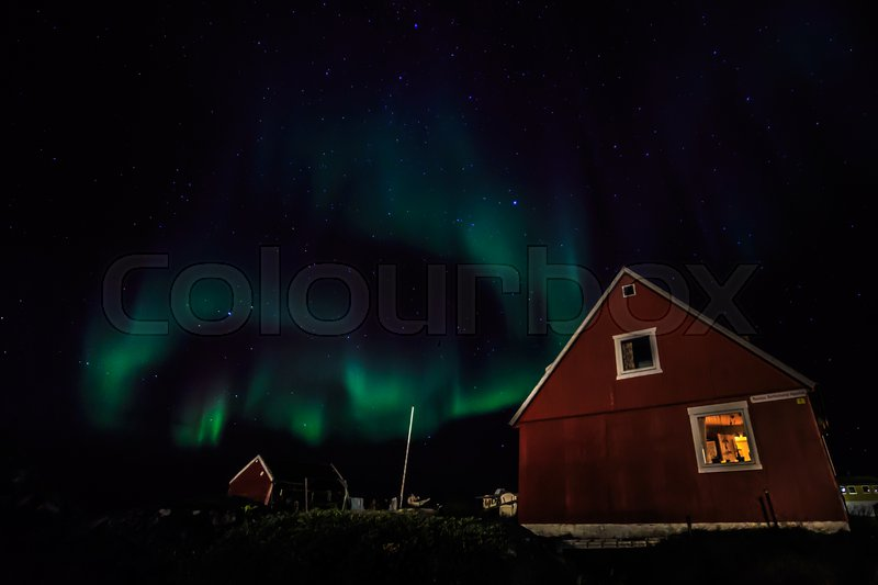 Stock image of 'Greenlandic northern lights, nearby Nuuk, October 2015'
