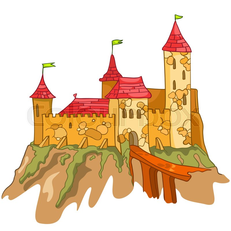 Stock image of 'Cartoon Illustration Castle. Illustration Isolated on White Background. '