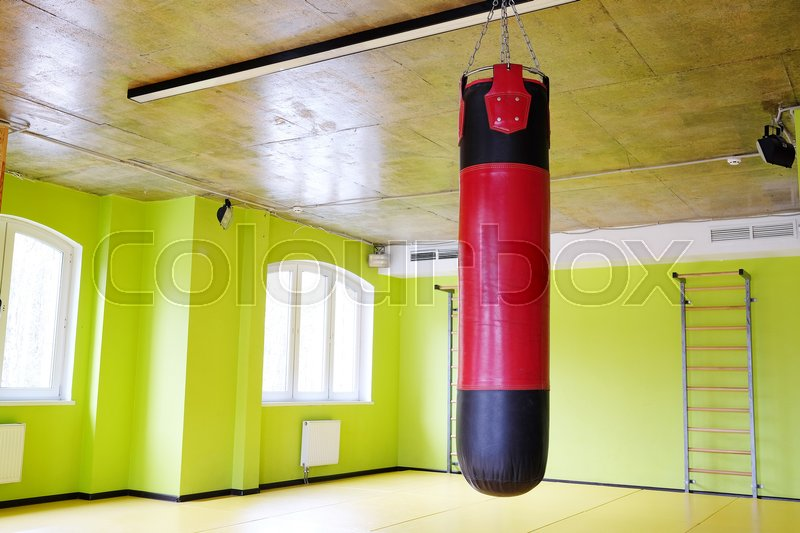 Stock image of 'Interior of a fitness hall with a punching bag'