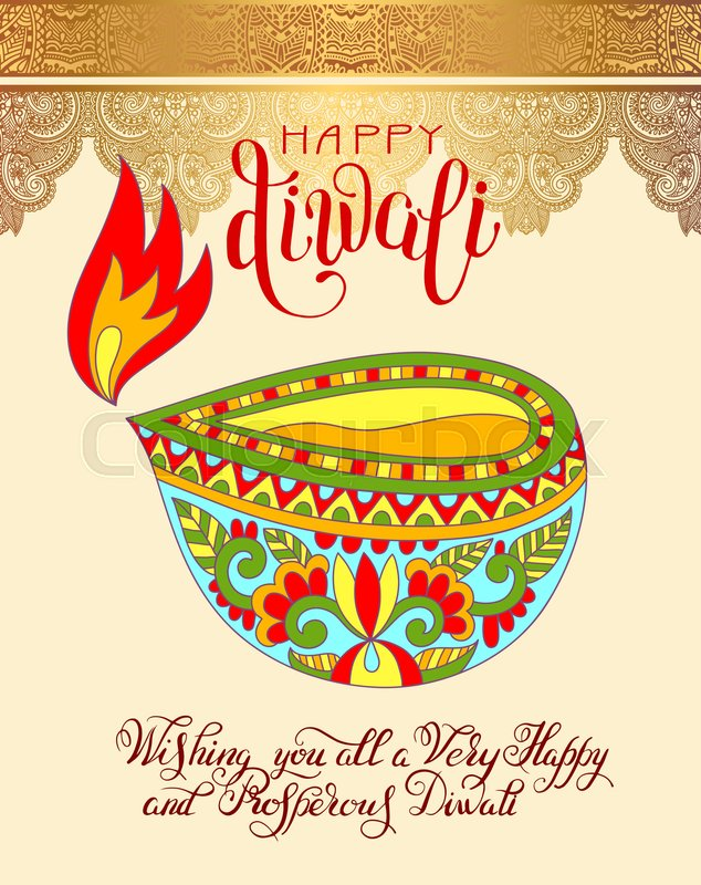 Happy diwali greeting card with hand written inscription to indian happy diwali greeting card with hand written inscription to indian light community festival vector illustration stock vector colourbox m4hsunfo