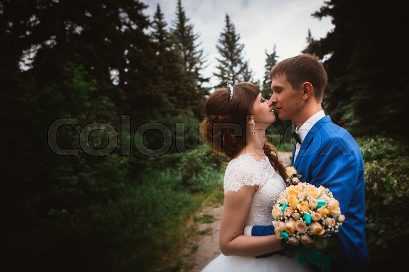 Stock image of 'bride and groom kissing in the background of the nature.'