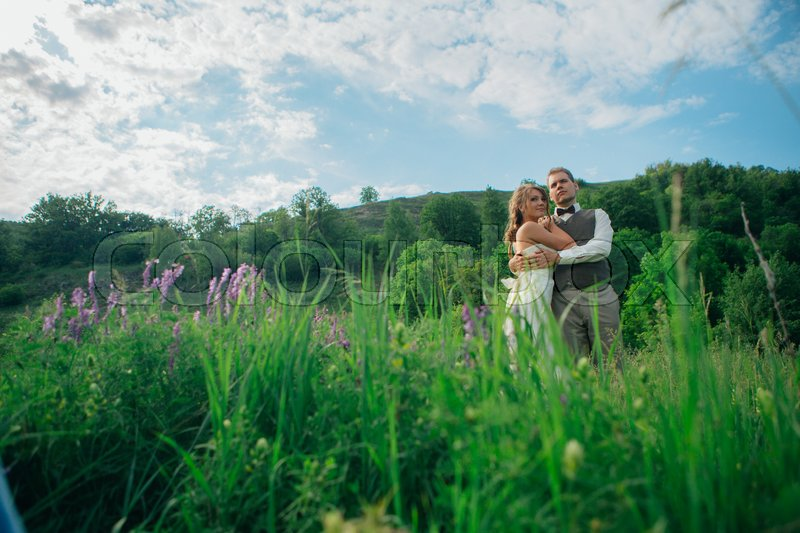 Stock image of 'the bride and groom with a bouquet in the grass against the background mountain landscape.'