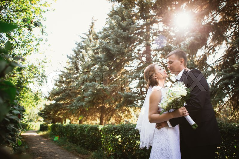 Stock image of 'couple bride and groom on a park background.'