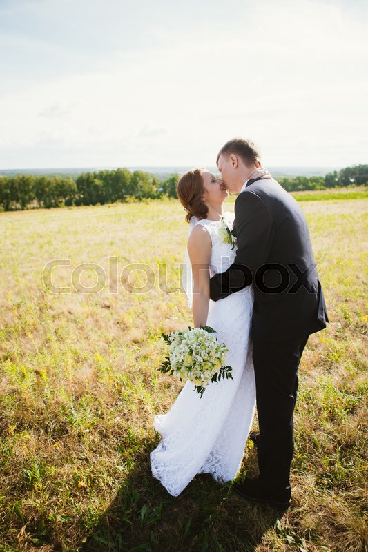 Stock image of 'couple bride and groom on field background.'