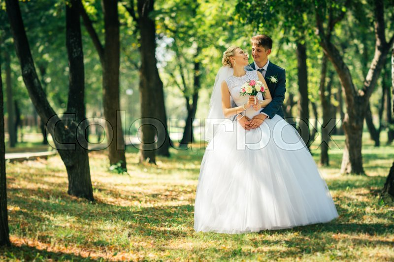 Stock image of 'the bride and groom on the background of the park alley.'