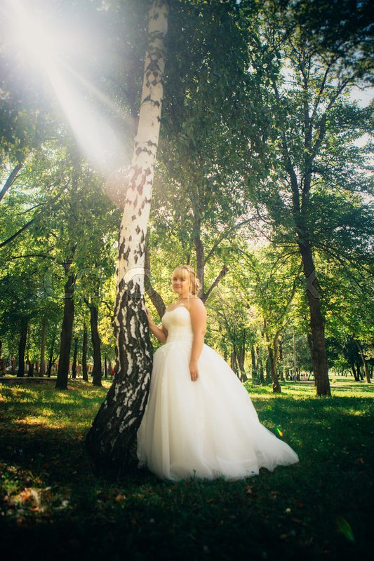 Stock image of 'bride on the background of the forest.'