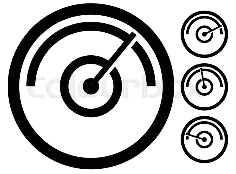 Gauge meter symbol, icon at 4 stages. pressure gauge, odometer ...