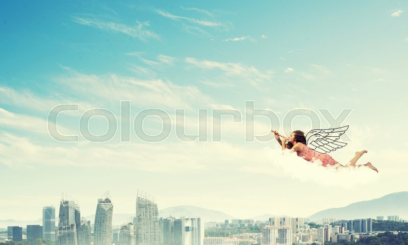 Stock image of 'Young pretty woman flying in sky and playing fife'