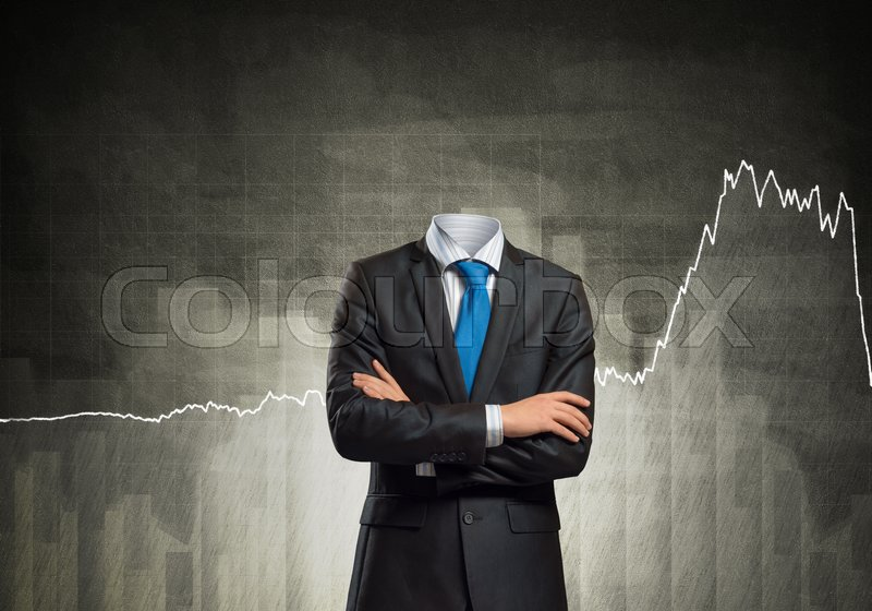 Stock image of 'Headless businessman with arms crossed on chest in black suit'
