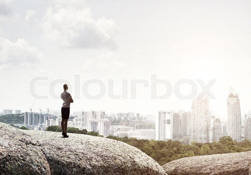 Stock image of 'Businesswoman standing with back on top of hill and viewing modern city'