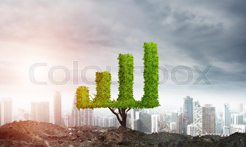 Stock image of 'Market growth and success as growing green tree in shape of graph'