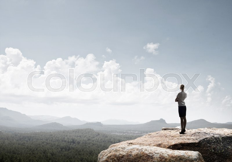 Stock image of 'Elegant businesswoman standing on rock top and looking ahead'