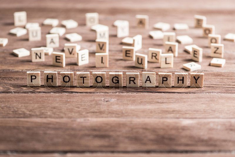 Stock image of 'Word photo collected of wooden elements with the letters'