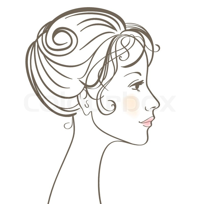 Woman Face Line Drawing Vector : Beauty women face vector illustration with make up stock